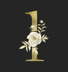 Decorative gold numeral on the black background vector