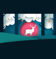 Deer cartoon paper landscape vector