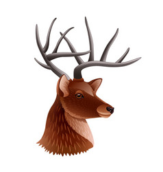 deer head profile isolated on white vector image