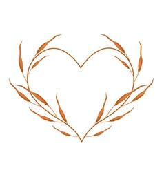 Dry Leaves in A Heart Shape Frame vector