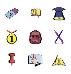 education icons set cartoon style vector image