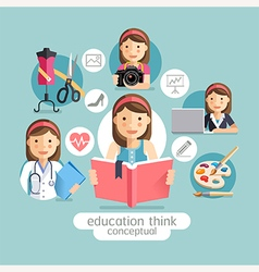 Education thinking conceptual Girl holding books vector