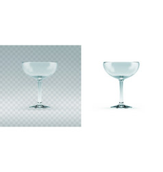empty transparent cocktail sauser glass for vector image