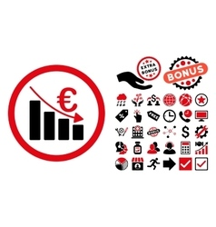 Euro Recession Flat Icon with Bonus vector image