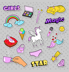 Fashion girls badges with rainbow cat vector