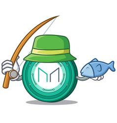 Fishing maker coin mascot cartoon vector