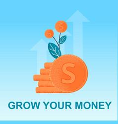 Flat banner grow money bunch cent in plant vector
