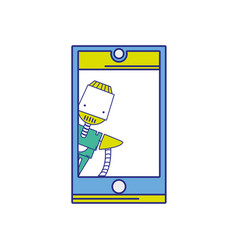 full color smartphone technology with robot vector image