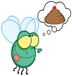 Green fly flying and dreaming about a poop cake vector