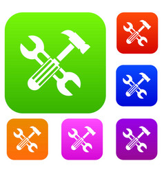 hammer and screw wrench set collection vector image
