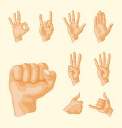 hands deaf-mute different gestures human arm vector image