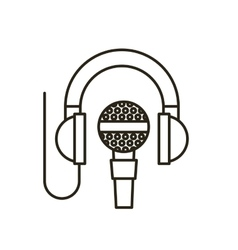 Headset with microphone isolated icon vector