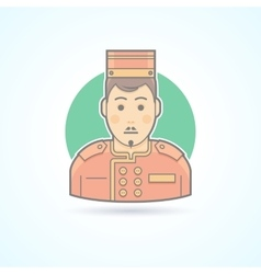 Hotel porter man doorman service guy icon vector