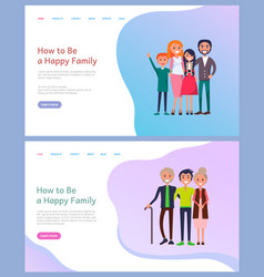 how to be happy family parents and children vector image