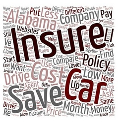 How To Compare Low Cost Car Insurance In Alabama vector image vector image
