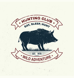 hunting club badge eat sleep hunt vector image