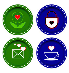 icons with abstract hearts envelope flower and vector image