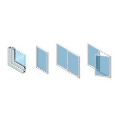 isometric cross section through a window pane pvc vector image