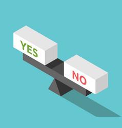 isometric yes no balance vector image