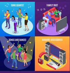 karaoke isometric design concept vector image
