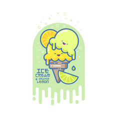 kawaii smiled ice cream vector image