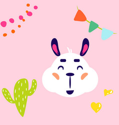 Lama white isolated cute childish vector