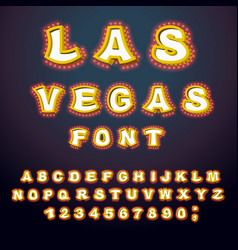 Las vegas font glowing lamp letters retro vector