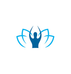 lotus human yoga logo icon vector image