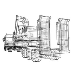 Low bed truck trailer and excavator wire-frame vector