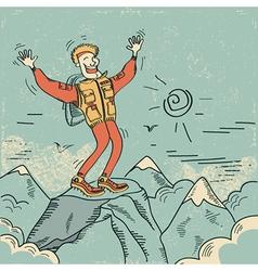 man standing top mountain vector image