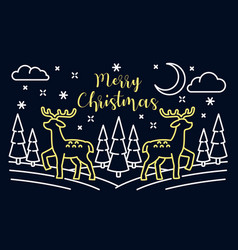 merry christmas landscape banner outline style vector image