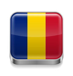 Metal icon of Romania vector image vector image