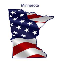 minnesota full american flag waving in wind vector image