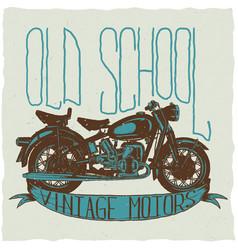 Old school vintage motors poster vector