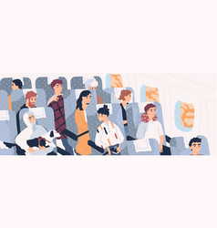 Passengers inside airliner funny people sitting vector