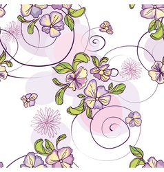 pattern of purple flowers with circles vector image
