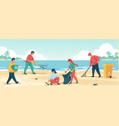 People cleaning beach cartoon characters vector