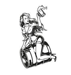 Pin up girl sitting on beer keg vector