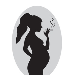 Pregnant woman with a cigarette Pregnant smokers vector image