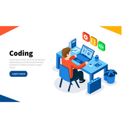 Programmer at work concept coding or online vector