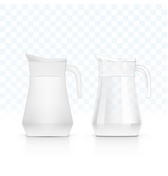 realistic ceramic and glass jug for milk or water vector image