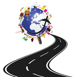 road with planet earth and travel icon vector image