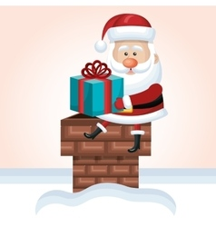santa claus sit on chimney with gift snow isolated vector image