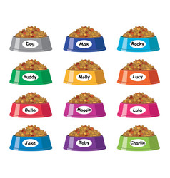 set of colorful plastic dog bowls with dog food vector image