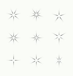 set of sparkle lights stars vector image
