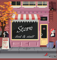 small shop on the old city street autumn vector image