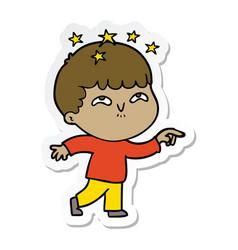 Sticker of a cartoon amazed boy vector