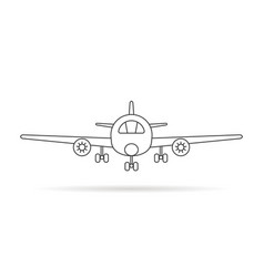 Thin line airplane icon with shadow vector