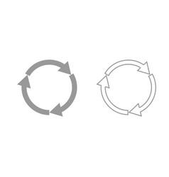 Three circle arrows grey set icon vector