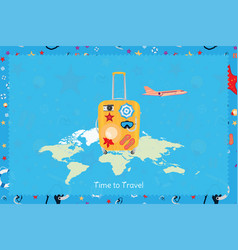 time to travel banner with plastic bag and plane vector image
